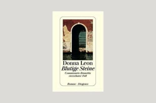 Cover Donna Leon: Blutige Steine. Cover: Diogenes